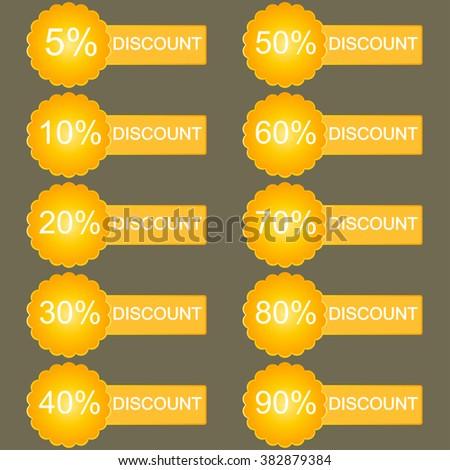 Discount labels. Sales set in orange tones. Vector. - stock vector