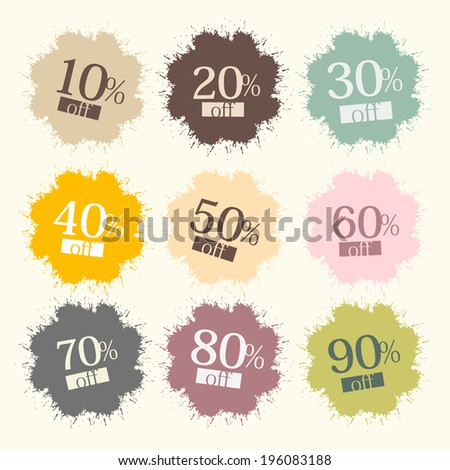 Discount Labels, Stains, Splashes  - stock vector