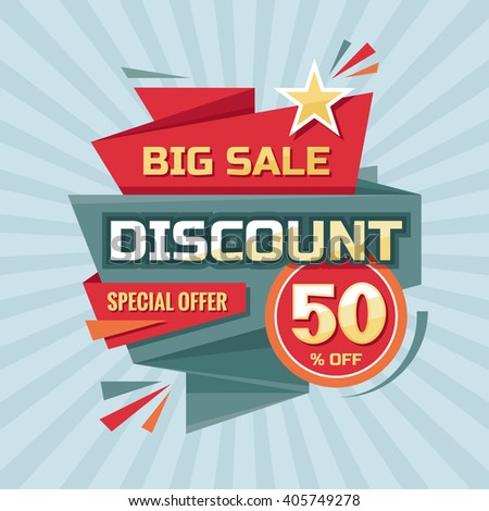 Discount 50 % off - advertising vector banner in origami retro style. Big sale vector layout. Special offer concept sticker.  - stock vector