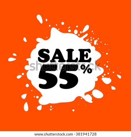 Discount on white blot. Colored blot. Orange color backgraund. Discount 55 percent. Discount 55 percent. Vector label. Fifty five percent sale. - stock vector
