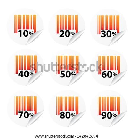 Discount orange labels sale 10 - 90 percent. Vector. - stock vector