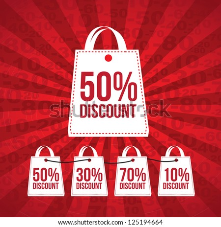 Discount over red and lines background vector illustration - stock vector