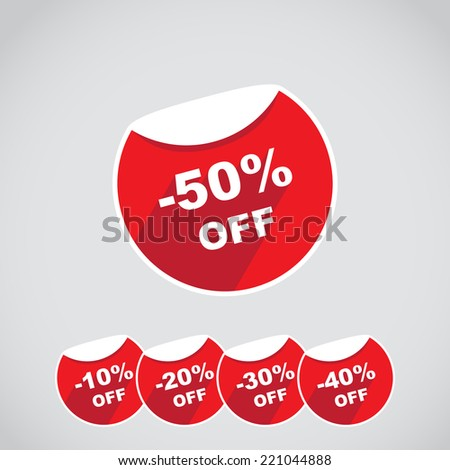 Discount percent stickers price tag in flat design