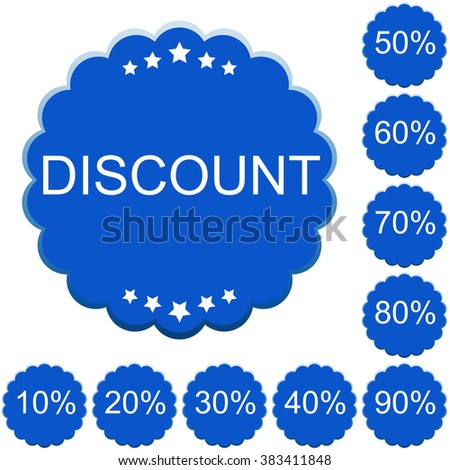 Discount price tags. Vector image in blue tones. - stock vector
