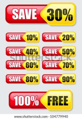 Discount / Save, Banners / Labels - stock vector