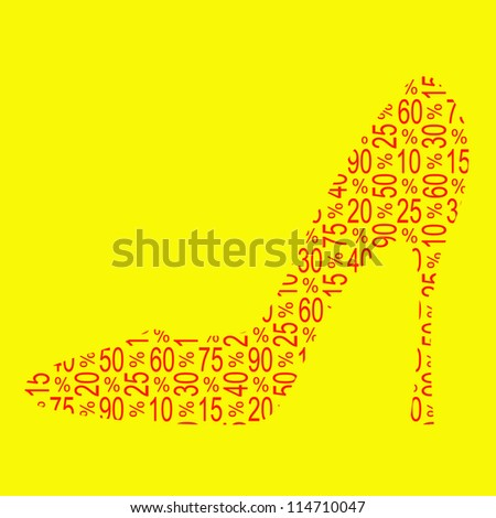 Discount shoe sale / text collage, vector illustration