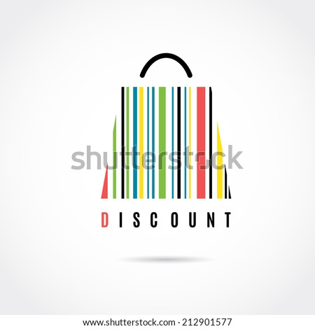 Discount. Shopping bag. Barcode vector image.