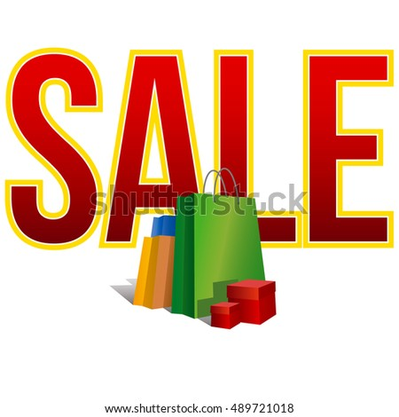Discount sign. Set of colorful paper shopping bags and present boxes near big word 'Sale'. Isolated on white background. Vector clip art with gradients and shadows.