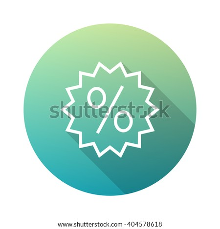 Discount Sticker Outline Icon White on Gradient Background with Long Shadow - stock vector