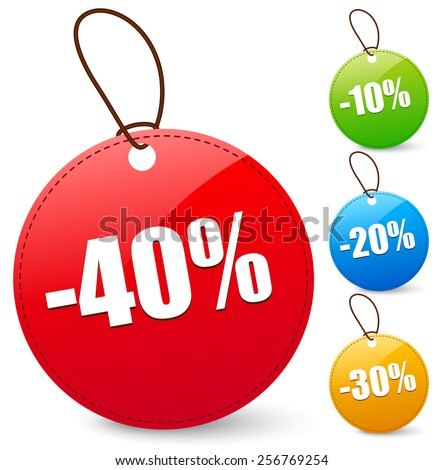 Discount tags with 40, 10, 20, 30 Percents - stock vector
