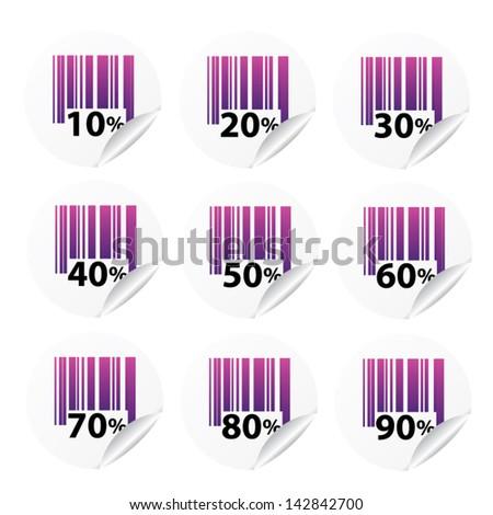 Discount violet labels sale 10 - 90 percent. Vector. - stock vector
