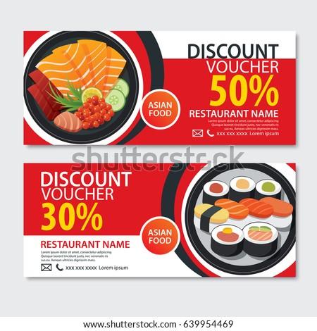 Discount Voucher Asian Food Template Design. Japanese Set  Meal Voucher Template