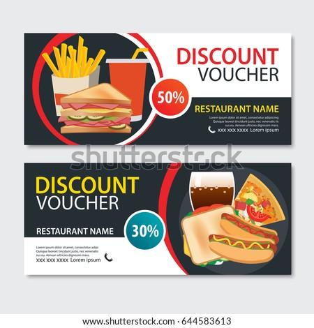 discount voucher fast food template designのベクター画像素材
