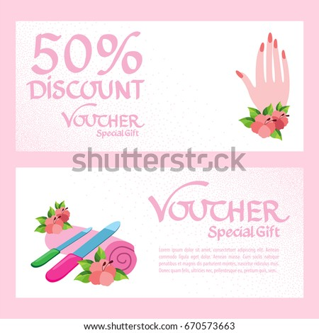 Discount Voucher Template Certificate Coupon Manicure Stock Vector