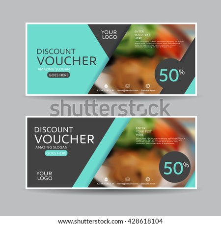 discount voucher template with clean and modern pattern and place for your business related photos. Vector illustration  - stock vector