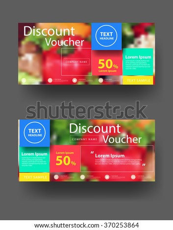 Discount voucher template with clean and modern pattern, With blurred background fruits and vegetables, Vector illustration - stock vector