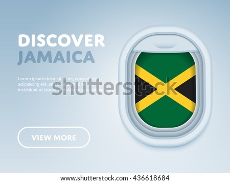 Discover Jamaica. Flight to Jamaica traveling theme banner design for website, mobile app. Modern vector illustration. Vacation. Tourism concept. Travel banner. Adventure in Jamaica. Journey concept. - stock vector