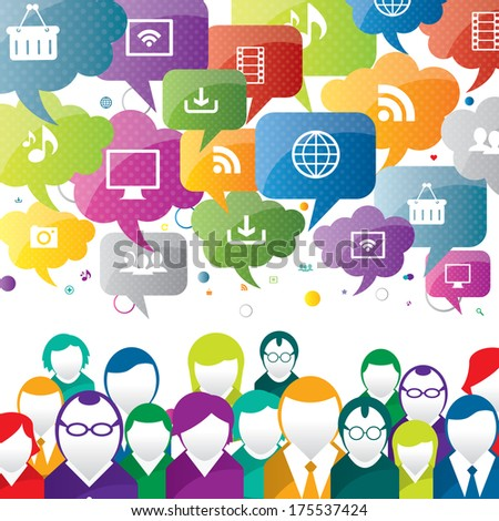 discussion and communication between people on business - stock vector