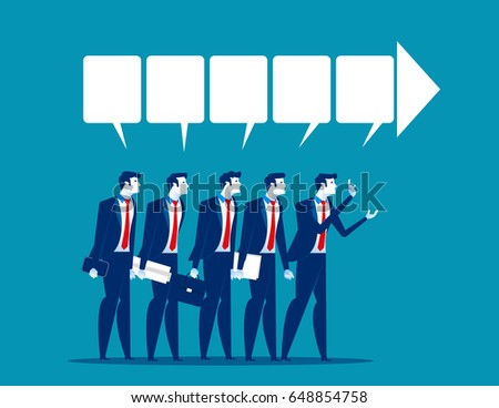Discussion. Businessman team talking to success. Business vector.