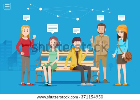 Discussion of a large group in public space. Youth have a plan for the future. Talking stranger for business work. - stock vector