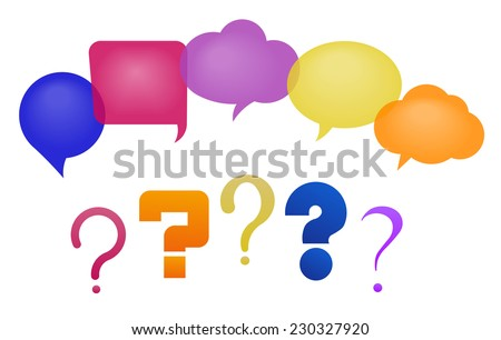 Discussion - speech bubbles and question marks. Vector illustration, fully editable, you can change form and color - stock vector