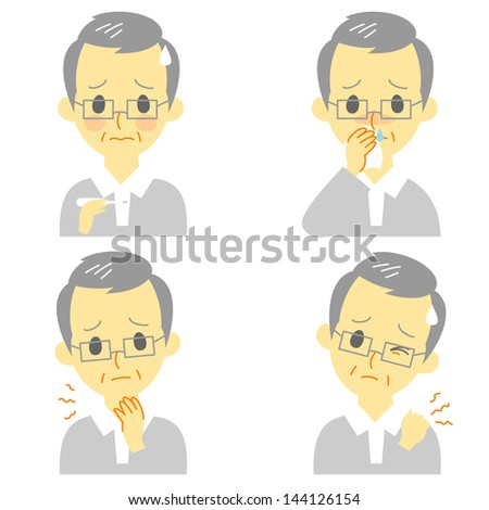 Disease Symptoms 02, fever, sore throat,dripping nose,stiff neck, expressions, old man - stock vector