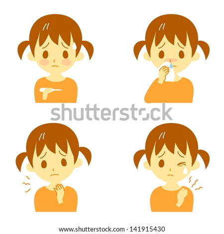 Disease Symptoms 02, fever, sore throat,dripping nose,stiff shoulders, expressions, girl - stock vector