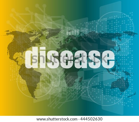disease words on digital touch screen interface vector quotation marks with thin line speech bubble. concept of citation, info, testimonials, notice, textbox. flat style - stock vector