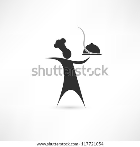 dish and cook sign - stock vector