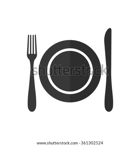 Dish fork and knife  - vector icon - stock vector