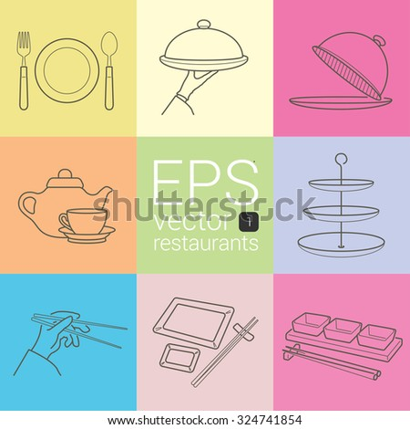 dish, fork, knife, arm tray, Cloche, and a cup of tea, tableware, dining hand with chopsticks, Japanese covered with empty plates on table. gravy boat set  different icons about restaurants vector - stock vector