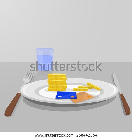 Dish kitchen with money for food. Knife and fork and glass of water. gray background - stock vector
