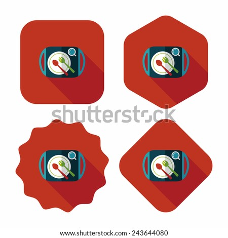 dish ware and cutlery flat icon with long shadow - stock vector