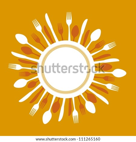 dish with cutlery over orange background. vector illustration - stock vector