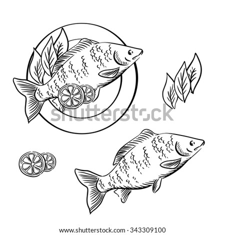 Dish with smoked fish, garnished with lemon slices and fresh herbs. For seafood recipe book or menu design, sketch style