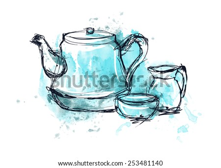 dishes, cup, drawing, watercolor, sketch, vector illustration. blue paint.