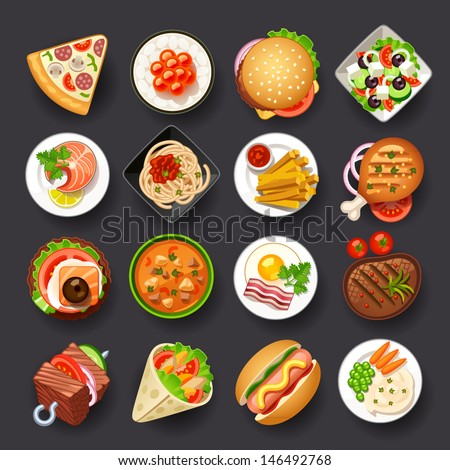 dishes icon set - stock vector
