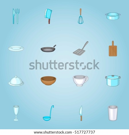 Dishes icons set. Cartoon illustration of 16 dishes vector icons for web