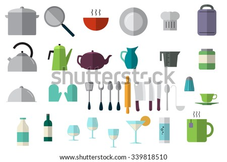 Dishes icons set. Flat style. Illustration for logo, brochure and other printing and web projects. - stock vector