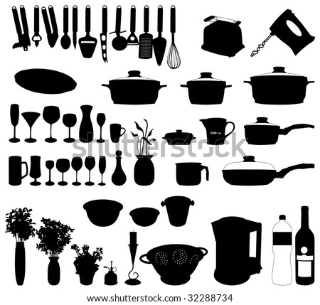 dishes, pan, mixer and other kitchen objects silhouette vector - stock vector