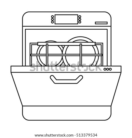 dishwasher clipart black and white. dishwasher icon in outline style isolated on white background. kitchen symbol stock vector illustration. clipart black and p