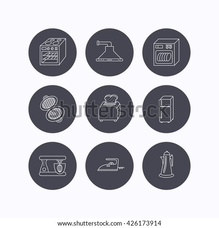 Dishwasher, refrigerator fridge and blender icons. Kitchen hood, mixer and toaster linear signs. Oven, teapot and waffle-iron icons. Flat icons in circle buttons on white background. Vector - stock vector