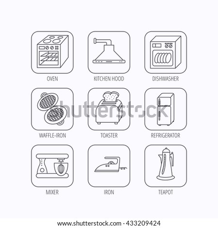 Dishwasher, refrigerator fridge and blender icons. Kitchen hood, mixer and toaster linear signs. Oven, teapot and waffle-iron icons. Flat linear icons in squares on white background. Vector - stock vector