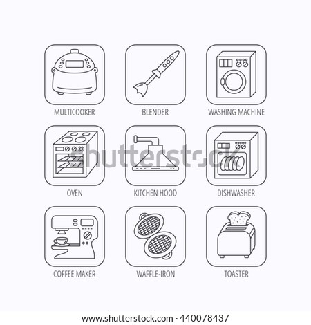 Dishwasher, washing machine and blender icons. Kitchen hood, coffee maker and toaster linear signs. Oven, multicooker and waffle-iron icons. Flat linear icons in squares on white background. Vector