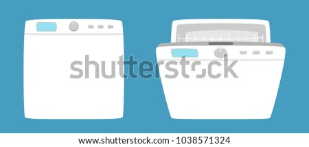 Dishwashing machine simple icon isolated. Household appliance. Kitchen dishwasher for dishes. Flat style. Vector illustration
