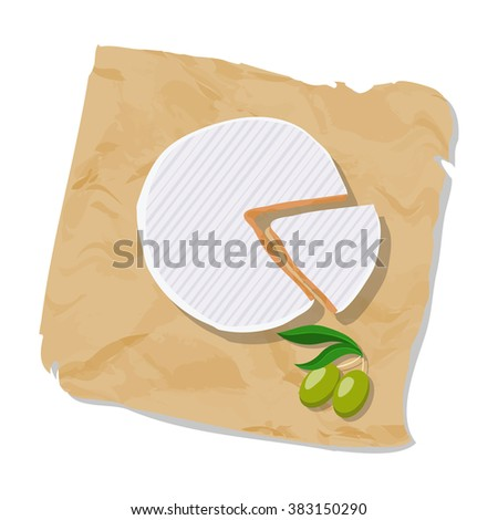 Disk and piece of Camembert on the paper. Isolated on white. Vector illustration.