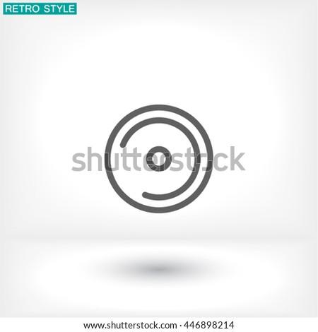disk DVD line vector icon - stock vector