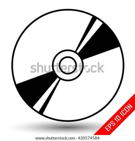 Disk icon. Disk with patch of reflected light picture. Disk flat vector. CD. DVD. Laser disc icon. Vector illustration. - stock vector