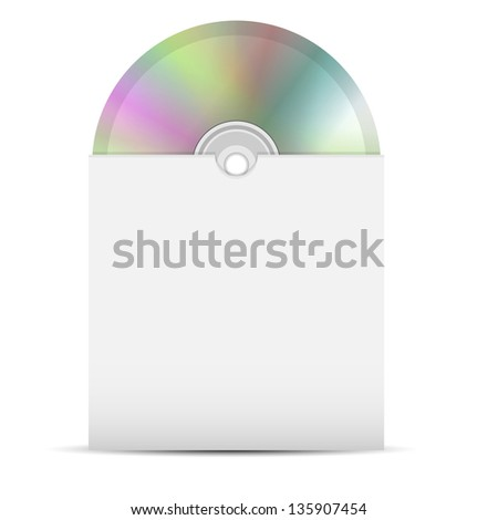 disk in a paper envelope on a white background