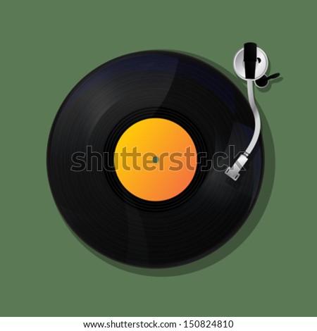 Disk Jockey turntable  and vinyl - stock vector